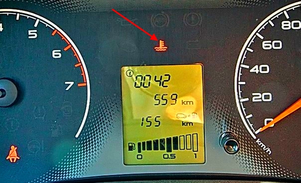 Датчики температуры двигателя на приборной панели